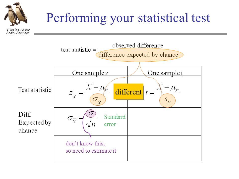Statistics for the Social Sciences Performing your statistical test Test statistic Diff.