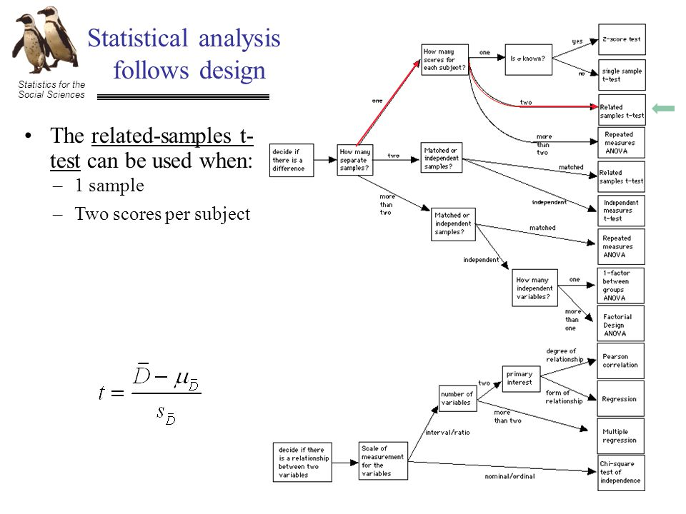 Statistics for the Social Sciences Statistical analysis follows design The related-samples t- test can be used when: –1 sample –Two scores per subject