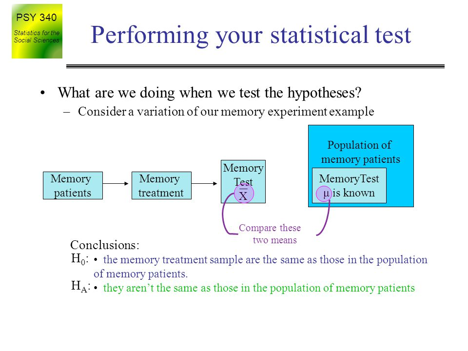 PSY 340 Statistics for the Social Sciences Performing your statistical test What are we doing when we test the hypotheses.