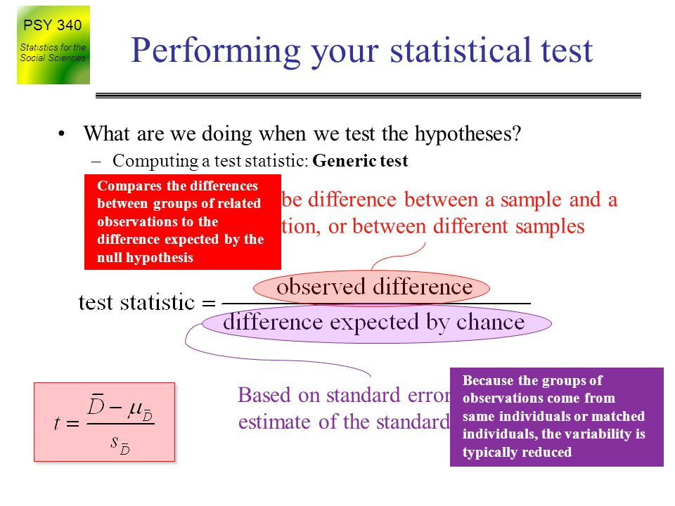 PSY 340 Statistics for the Social Sciences Performing your statistical test Diff.