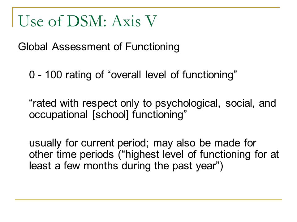 """Use of DSM: Axis V Global Assessment of Functioning 0 - 100 rating of """"overall level of functioning"""" """"rated with respect only to psychological, social"""