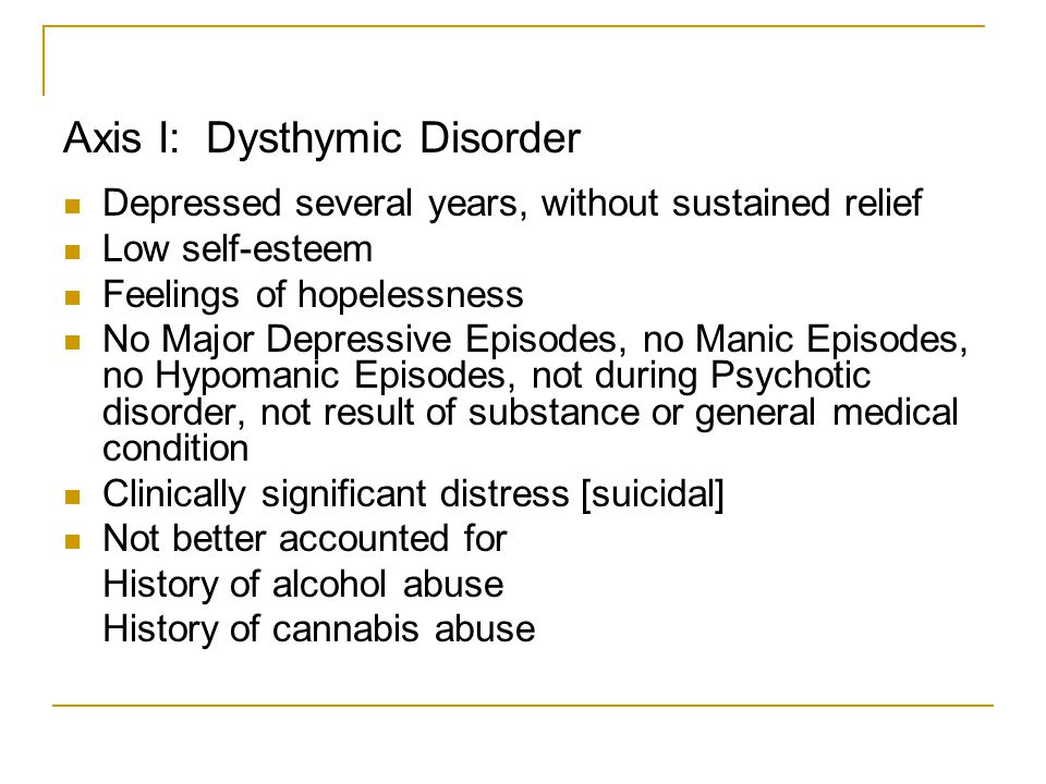 Depressed several years, without sustained relief Low self-esteem Feelings of hopelessness No Major Depressive Episodes, no Manic Episodes, no Hypoman