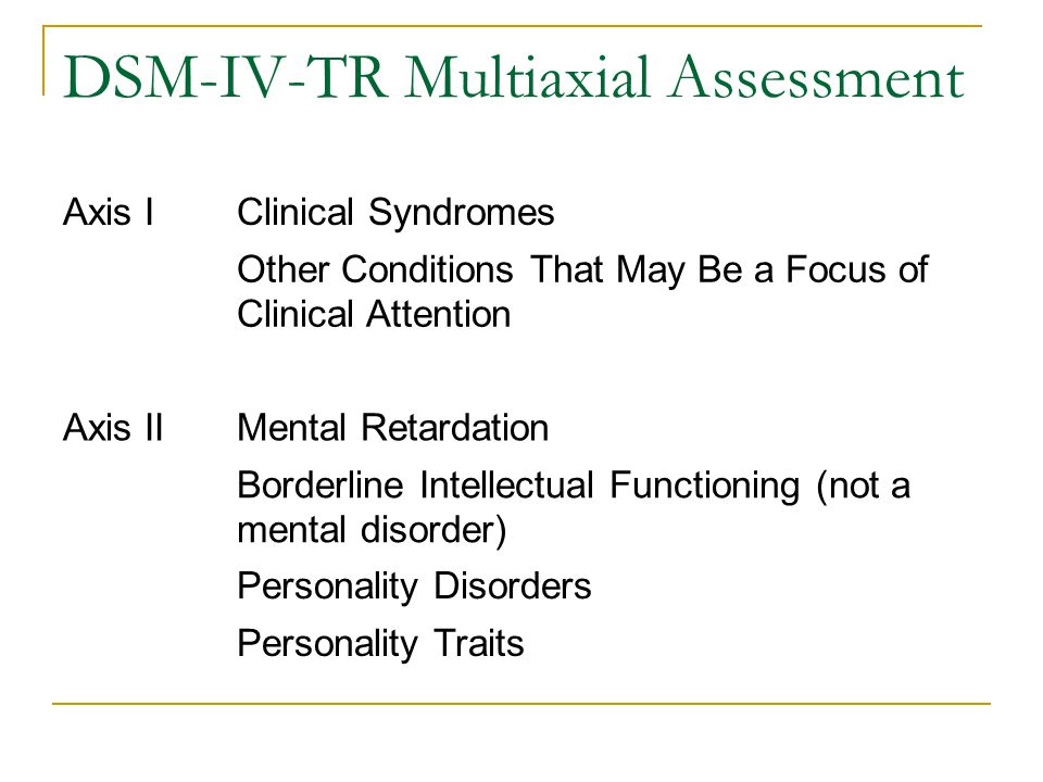 DSM-IV-TR Multiaxial Assessment Axis IClinical Syndromes Other Conditions That May Be a Focus of Clinical Attention Axis IIMental Retardation Borderli
