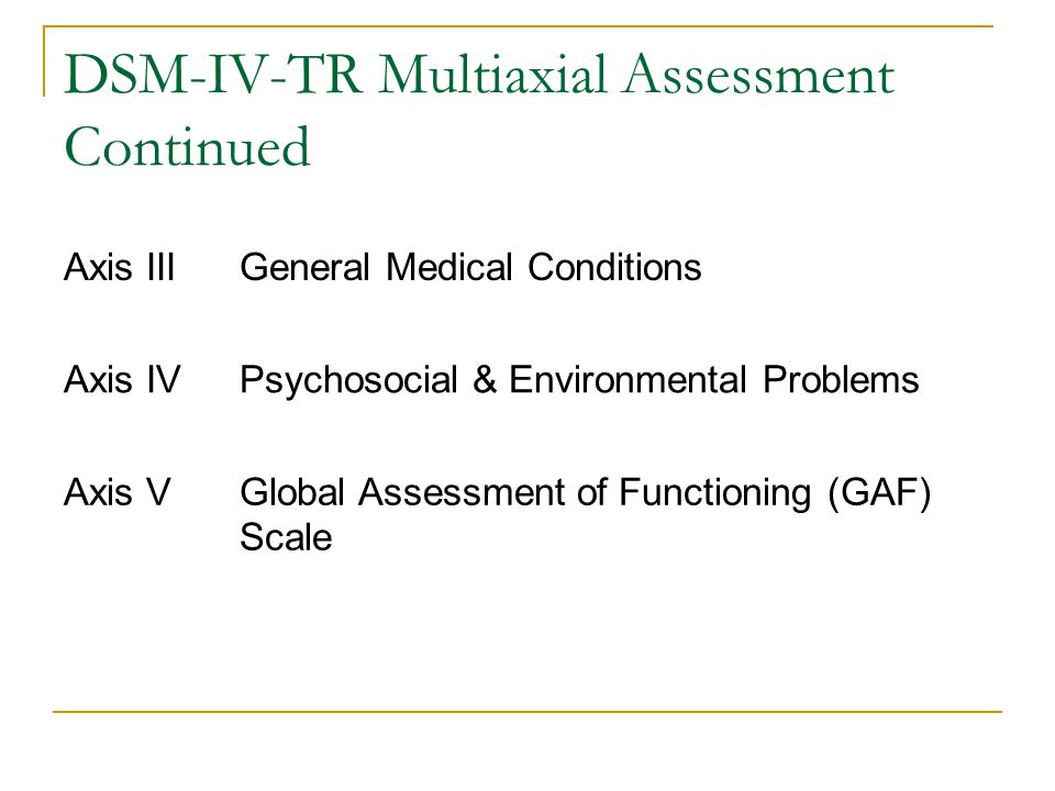 DSM-IV-TR Multiaxial Assessment Continued Axis IIIGeneral Medical Conditions Axis IVPsychosocial & Environmental Problems Axis VGlobal Assessment of F