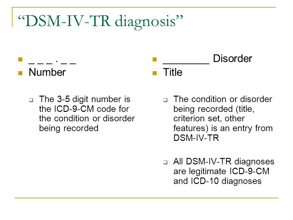 """""""DSM-IV-TR diagnosis"""" _ _ _. _ _ Number  The 3-5 digit number is the ICD-9-CM code for the condition or disorder being recorded ________ Disorder Tit"""