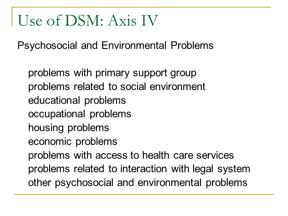 Use of DSM: Axis IV Psychosocial and Environmental Problems problems with primary support group problems related to social environment educational pro