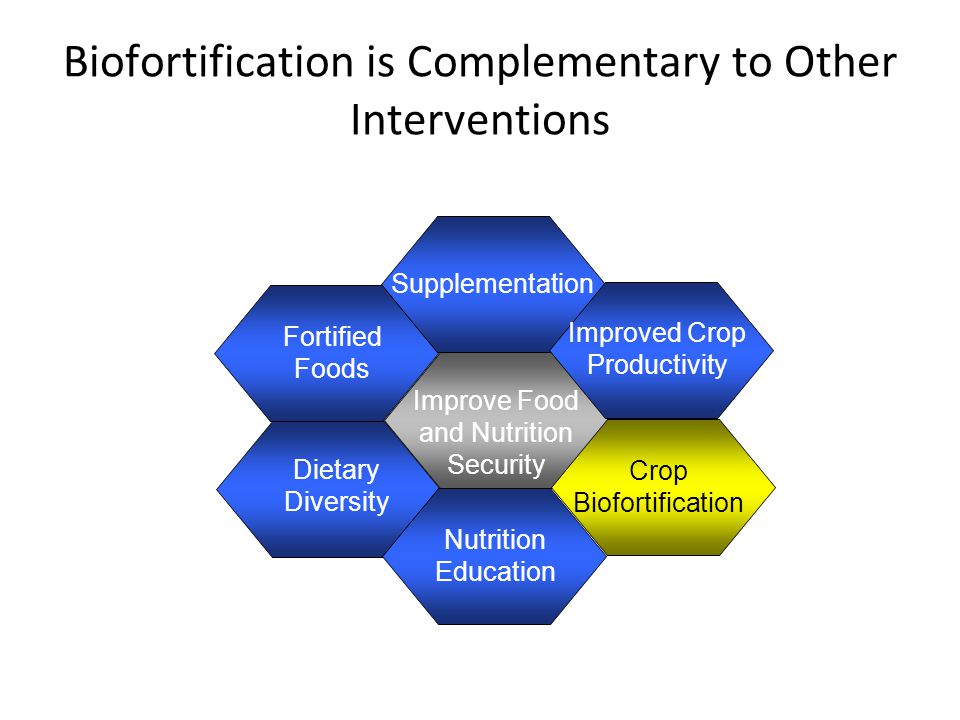 Biofortification is Complementary to Other Interventions Improve Food and Nutrition Security Fortified Foods Dietary Diversity Supplementation Improved Crop Productivity Crop Biofortification Nutrition Education