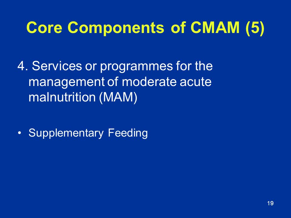 19 Core Components of CMAM (5) 4. Services or programmes for the management of moderate acute malnutrition (MAM) Supplementary Feeding