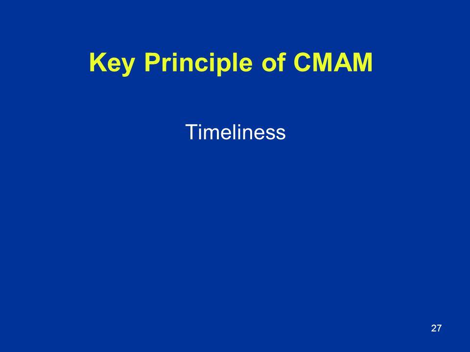 27 Key Principle of CMAM Timeliness