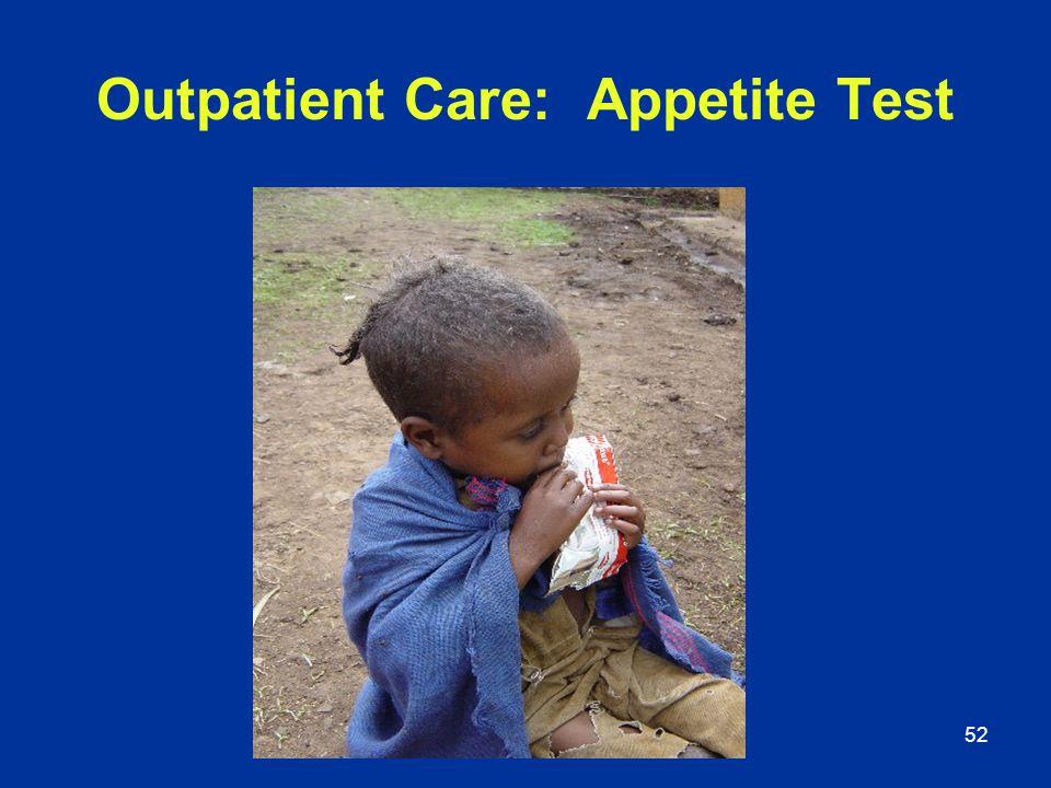 52 Outpatient Care: Appetite Test