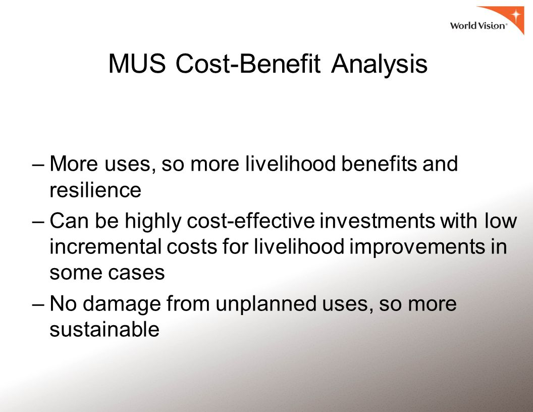 MUS Cost-Benefit Analysis –More uses, so more livelihood benefits and resilience –Can be highly cost-effective investments with low incremental costs