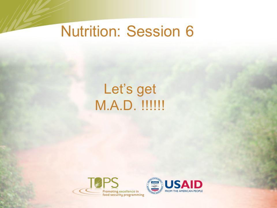 Nutrition: Session 6 Let's get M.A.D. !!!!!!