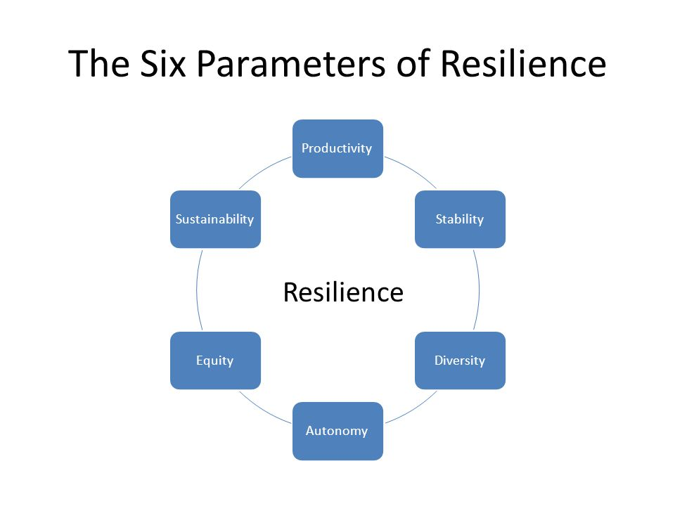 The Six Parameters of Resilience ProductivityStabilityDiversityAutonomyEquitySustainability Resilience