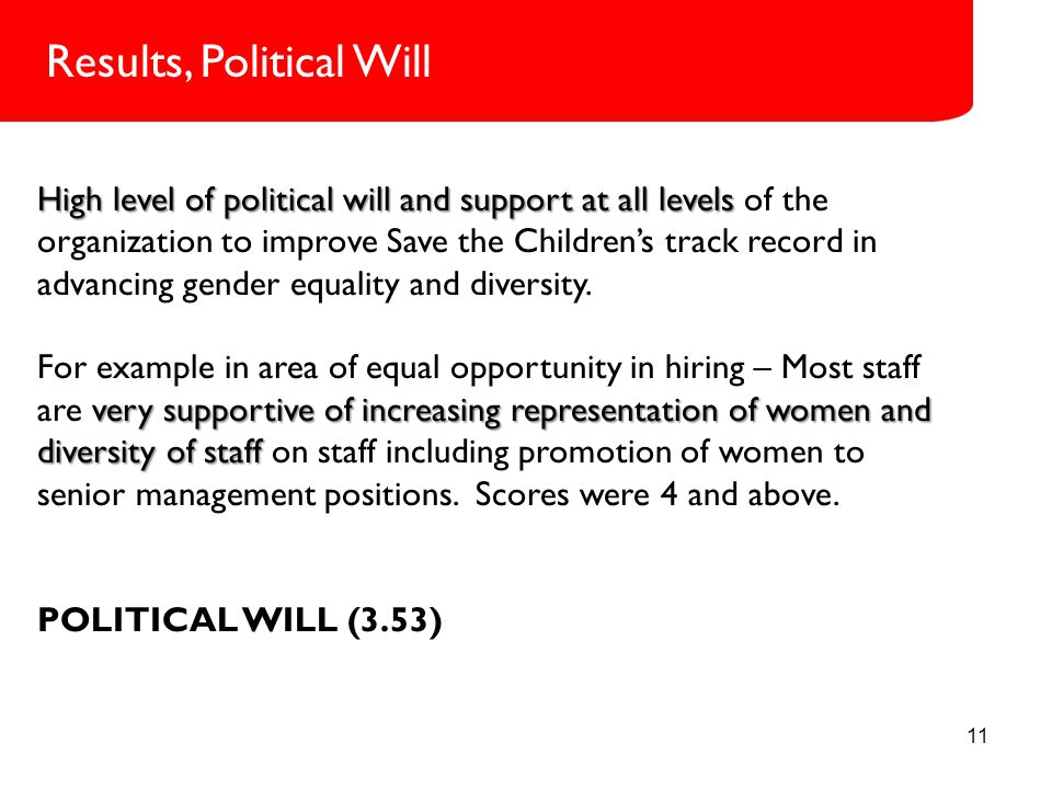 11 Role in SCI High level of political will and support at all levels High level of political will and support at all levels of the organization to improve Save the Children's track record in advancing gender equality and diversity.