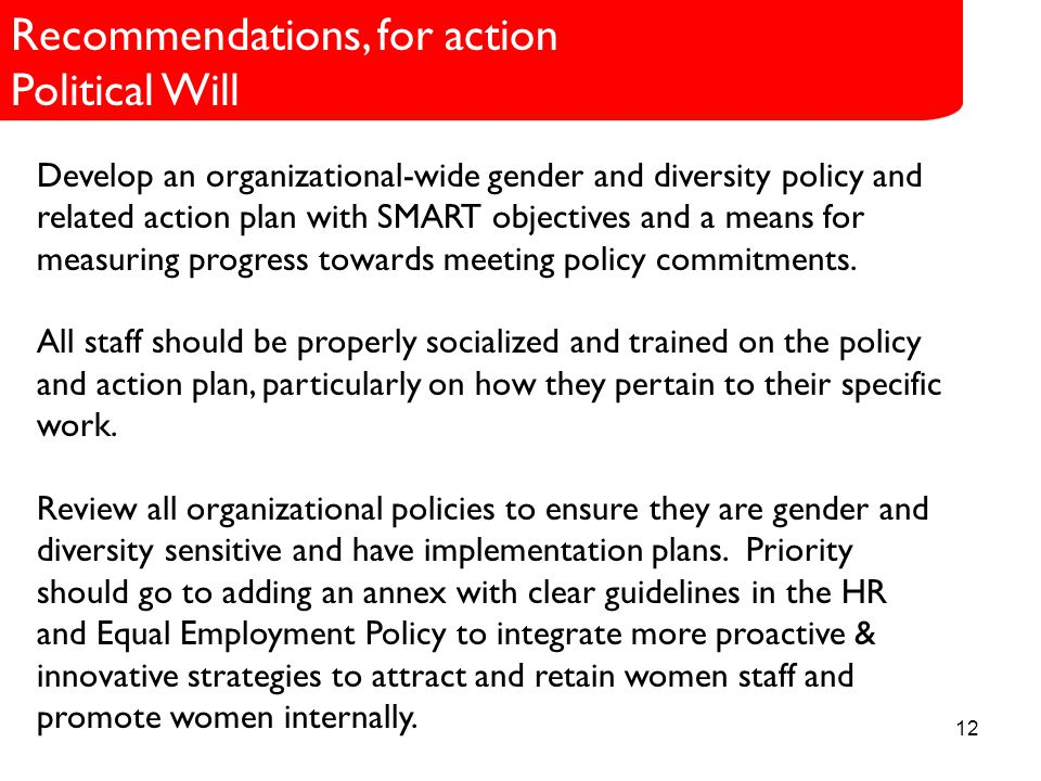 12 Role in SCI Develop an organizational-wide gender and diversity policy and related action plan with SMART objectives and a means for measuring progress towards meeting policy commitments.