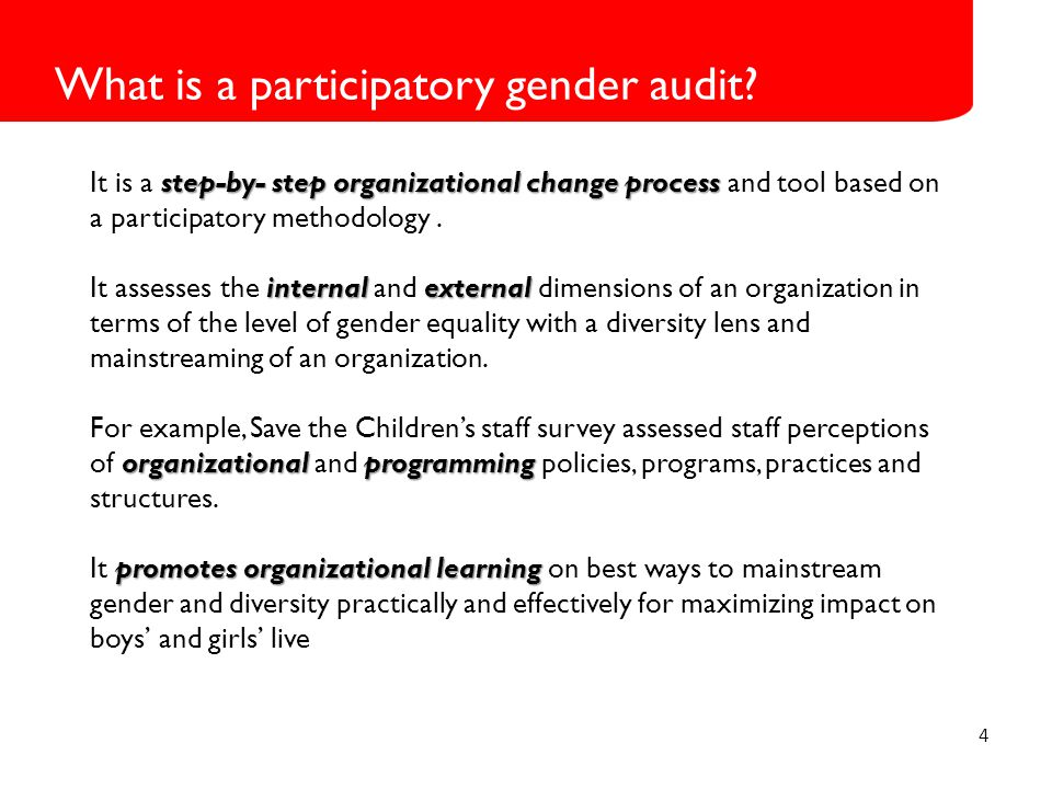 4 What is a participatory gender audit.