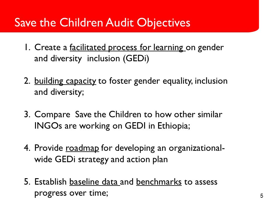 5 Save the Children Audit Objectives 1.Create a facilitated process for learning on gender and diversity inclusion (GEDi) 2.building capacity to foster gender equality, inclusion and diversity; 3.Compare Save the Children to how other similar INGOs are working on GEDI in Ethiopia; 4.Provide roadmap for developing an organizational- wide GEDi strategy and action plan 5.Establish baseline data and benchmarks to assess progress over time;