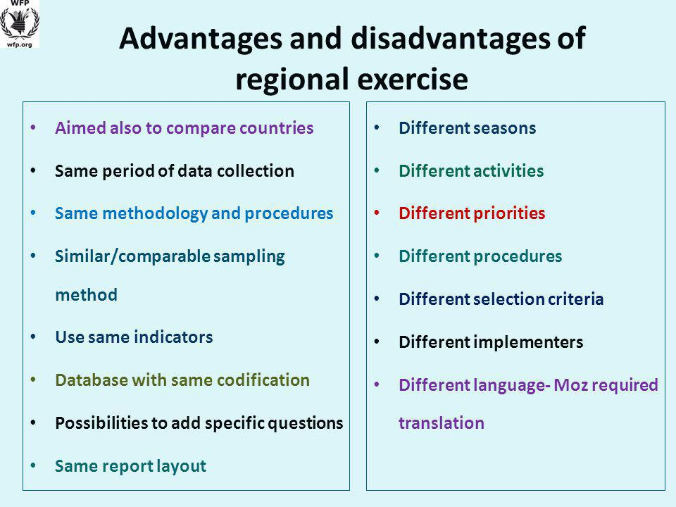 Advantages and disadvantages of regional exercise Aimed also to compare countries Same period of data collection Same methodology and procedures Similar/comparable sampling method Use same indicators Database with same codification Possibilities to add specific questions Same report layout Different seasons Different activities Different priorities Different procedures Different selection criteria Different implementers Different language- Moz required translation