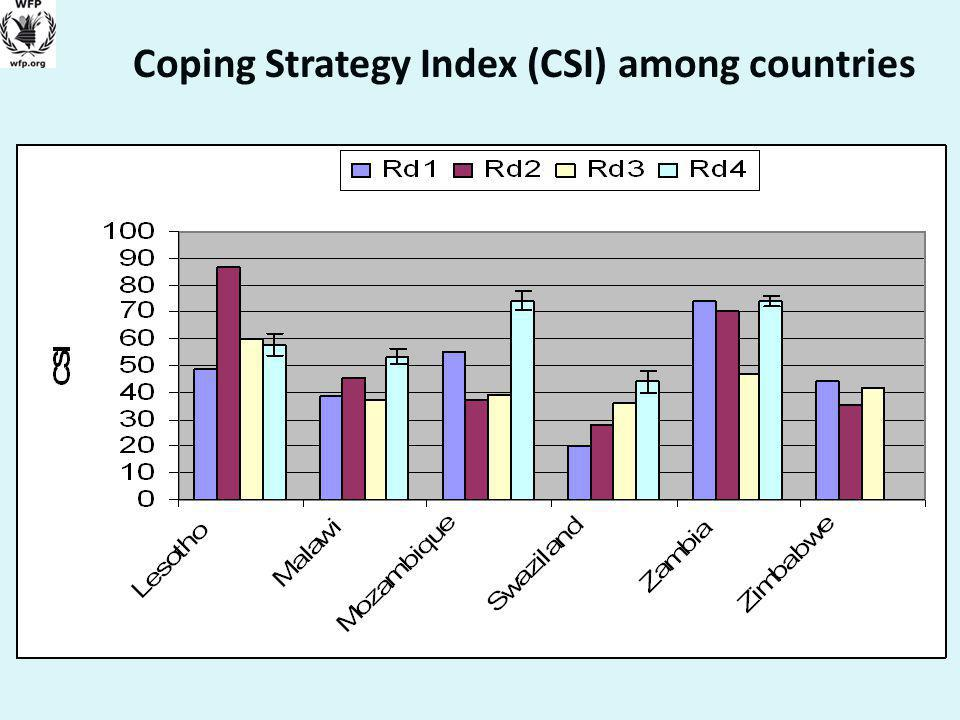 Coping Strategy Index (CSI) among countries