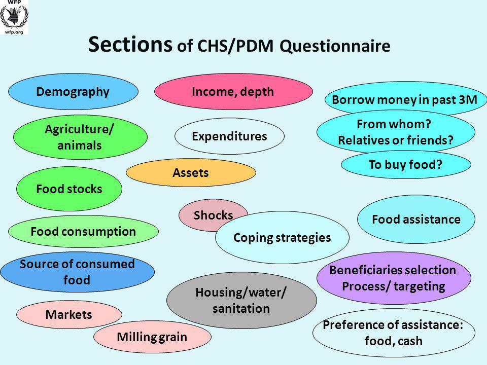 Sections of CHS/PDM Questionnaire Demography Shocks Food consumption Beneficiaries selection Process/ targeting Food assistance Housing/water/ sanitation Milling grain Preference of assistance: food, cash Agriculture/ animals Coping strategies Markets Income, depth Expenditures Assets Food stocks Source of consumed food Borrow money in past 3M From whom.