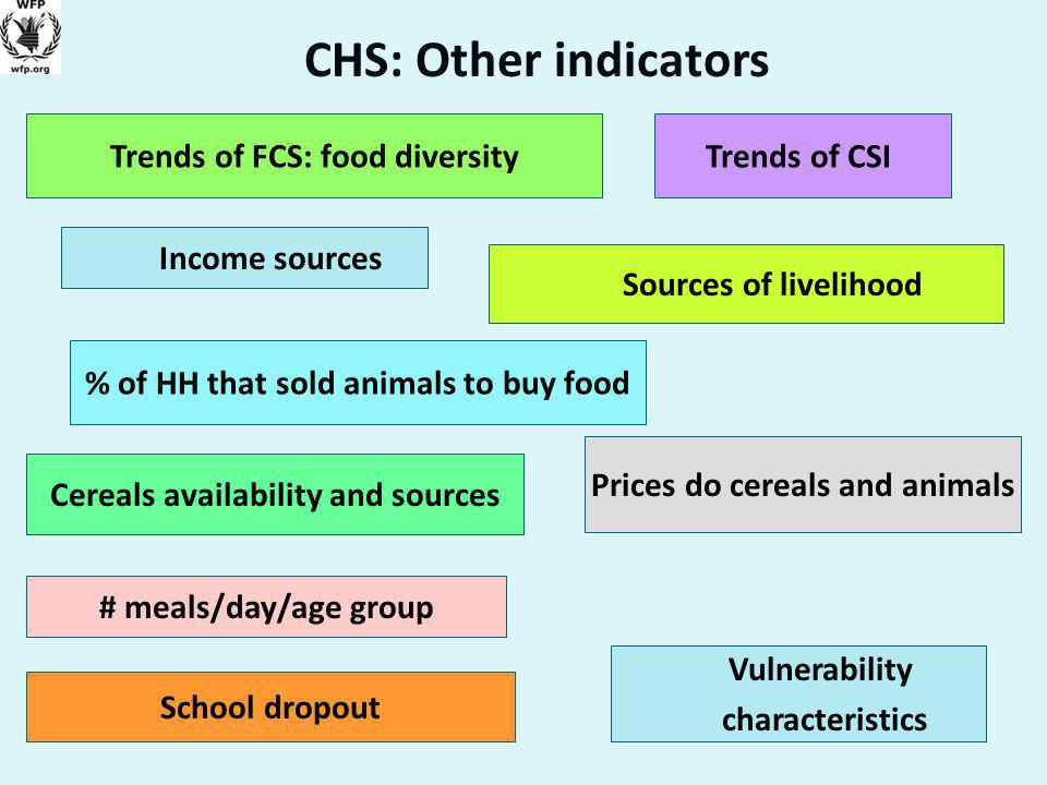 CHS: Other indicators Income sources Cereals availability and sources School dropout Prices do cereals and animals # meals/day/age group Trends of FCS: food diversityTrends of CSI Sources of livelihood Vulnerability characteristics % of HH that sold animals to buy food