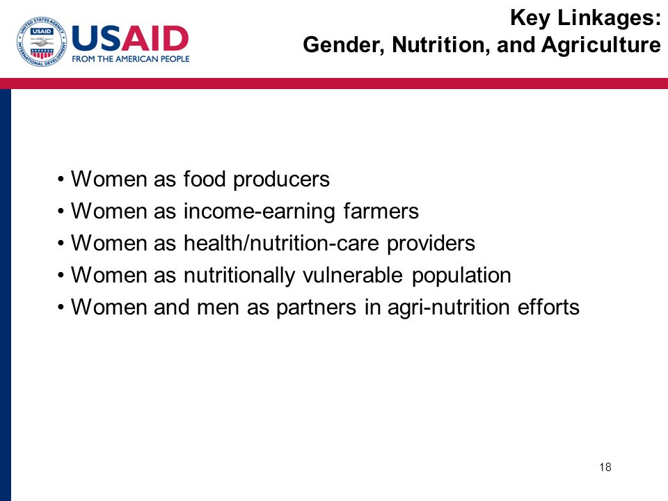 Women as food producers Women as income-earning farmers Women as health/nutrition-care providers Women as nutritionally vulnerable population Women and men as partners in agri-nutrition efforts 18 Key Linkages: Gender, Nutrition, and Agriculture