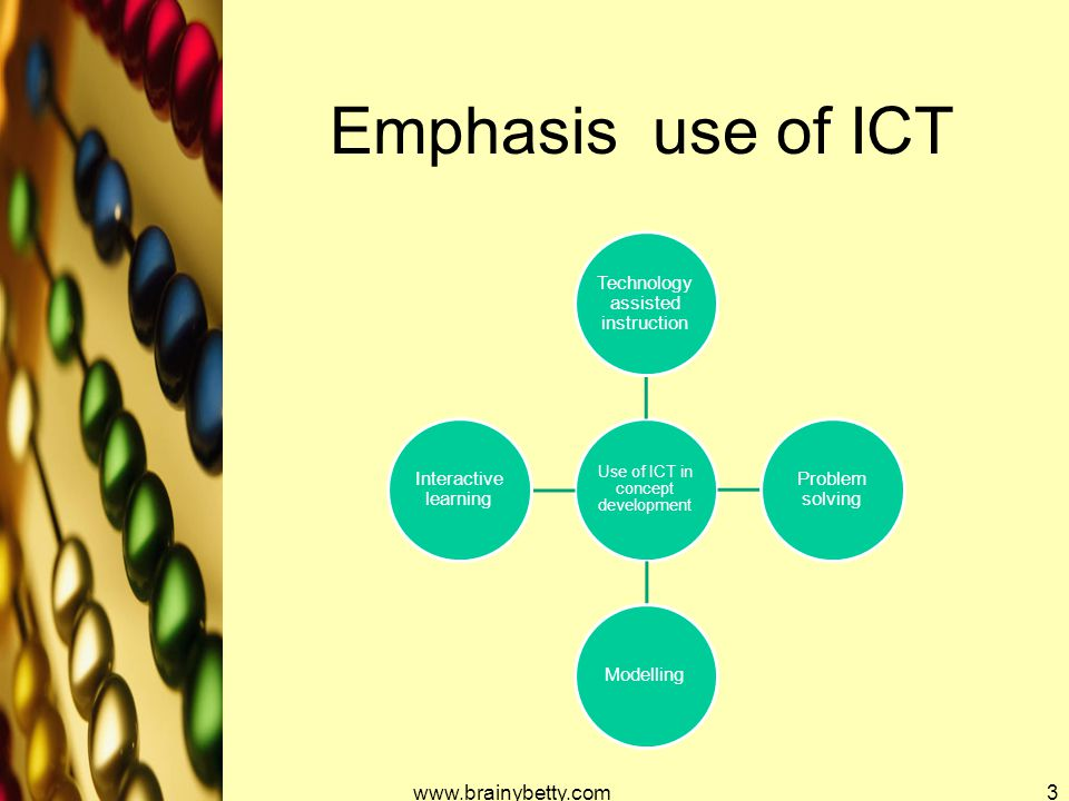 Emphasis use of ICT Use of ICT in concept development Technology assisted instruction Problem solving Modelling Interactive learning www.brainybetty.c