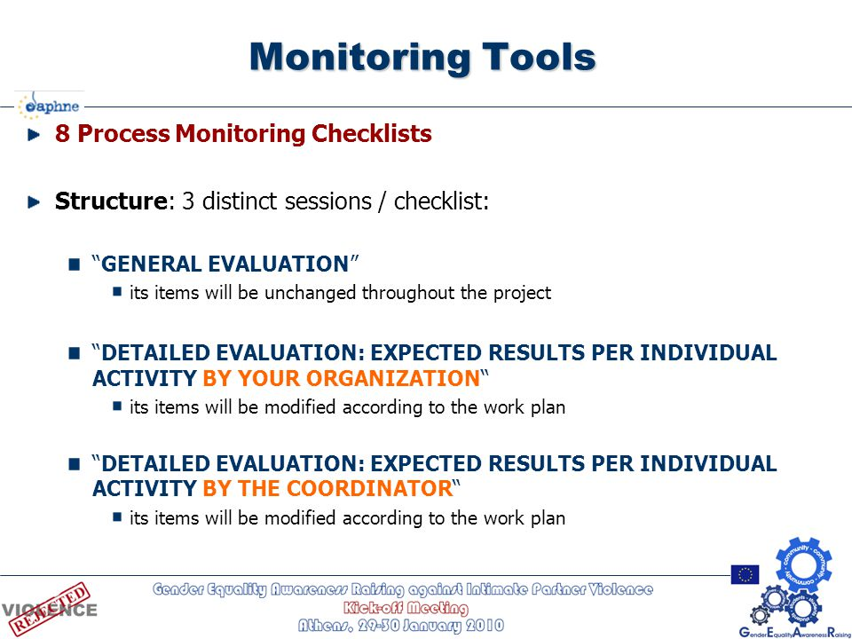 "Monitoring Tools 8 Process Monitoring Checklists Structure: 3 distinct sessions / checklist: ""GENERAL EVALUATION"" its items will be unchanged througho"