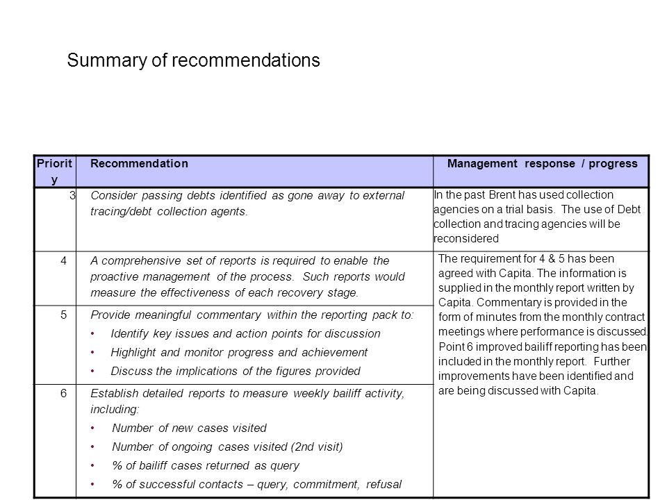 1 Summary of recommendations Priorit y RecommendationManagement response / progress 3 Consider passing debts identified as gone away to external tracing/debt collection agents.