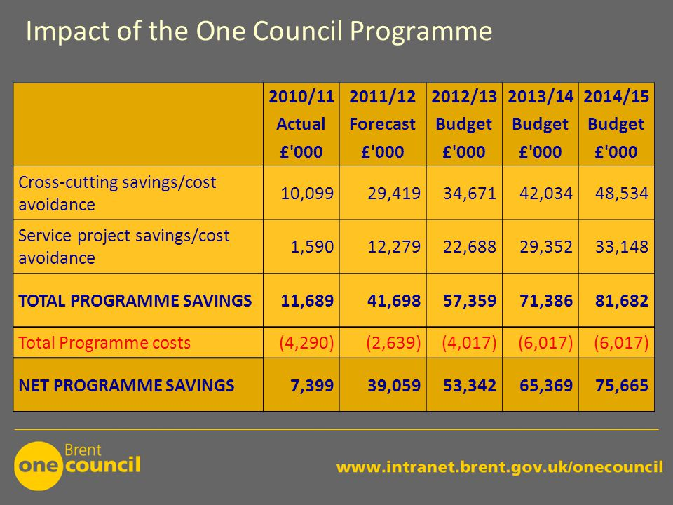 Impact of the One Council Programme 2010/112011/122012/132013/142014/15 ActualForecastBudget £ 000 Cross-cutting savings/cost avoidance 10,09929,41934,67142,03448,534 Service project savings/cost avoidance 1,59012,27922,68829,35233,148 TOTAL PROGRAMME SAVINGS11,68941,69857,35971,38681,682 Total Programme costs(4,290)(2,639)(4,017)(6,017) NET PROGRAMME SAVINGS7,39939,05953,34265,36975,665
