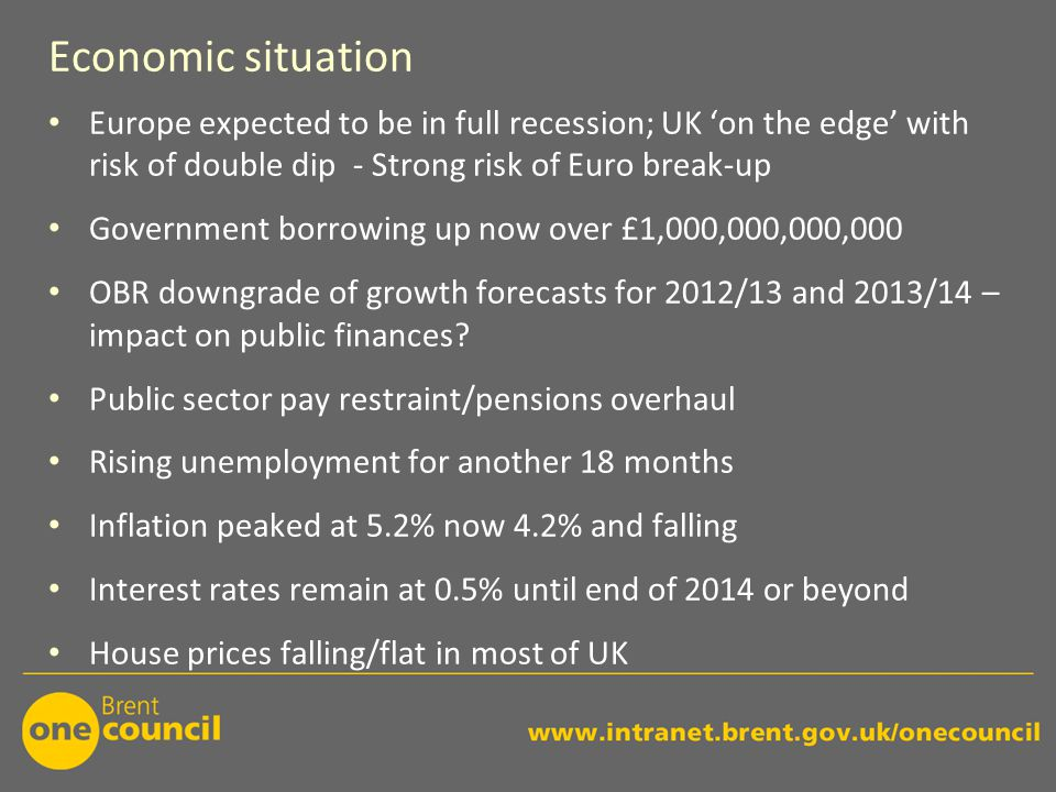 Economic situation Europe expected to be in full recession; UK 'on the edge' with risk of double dip - Strong risk of Euro break-up Government borrowing up now over £1,000,000,000,000 OBR downgrade of growth forecasts for 2012/13 and 2013/14 – impact on public finances.