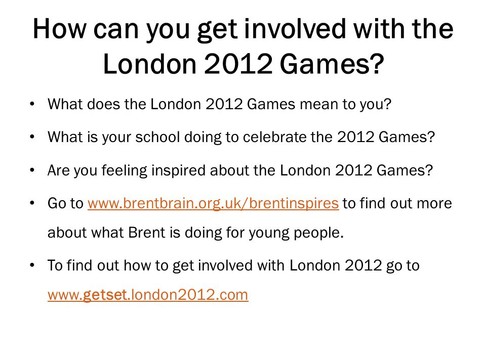 How can you get involved with the London 2012 Games.