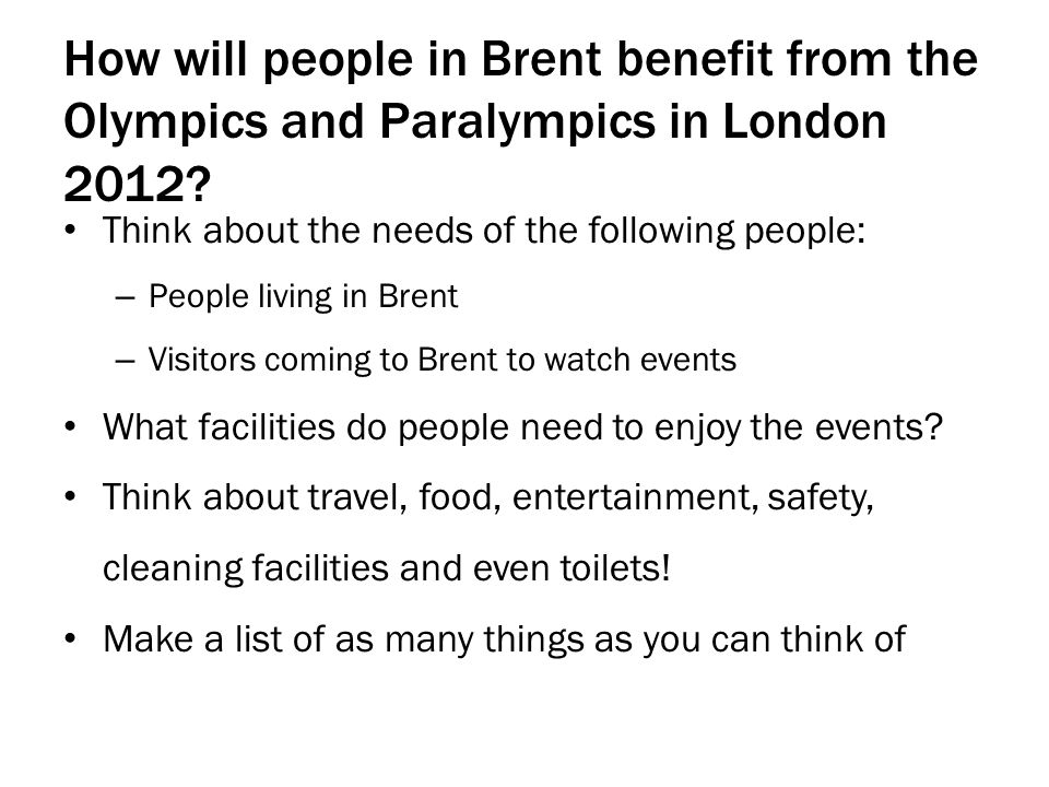 How will people in Brent benefit from the Olympics and Paralympics in London 2012.