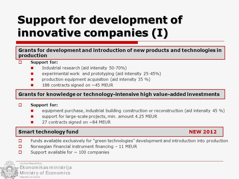  Support for: Industrial research (aid intensity 50-70%) experimental work and prototyping (aid intensity 25-45%) production equipment acquisition (aid intensity 35 %) 188 contracts signed on ~45 MEUR  Support for: equipment purchase, industrial building construction or reconstruction (aid intensity 45 %) support for large-scale projects, min.