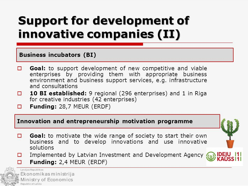  Goal: to support development of new competitive and viable enterprises by providing them with appropriate business environment and business support services, e.g.