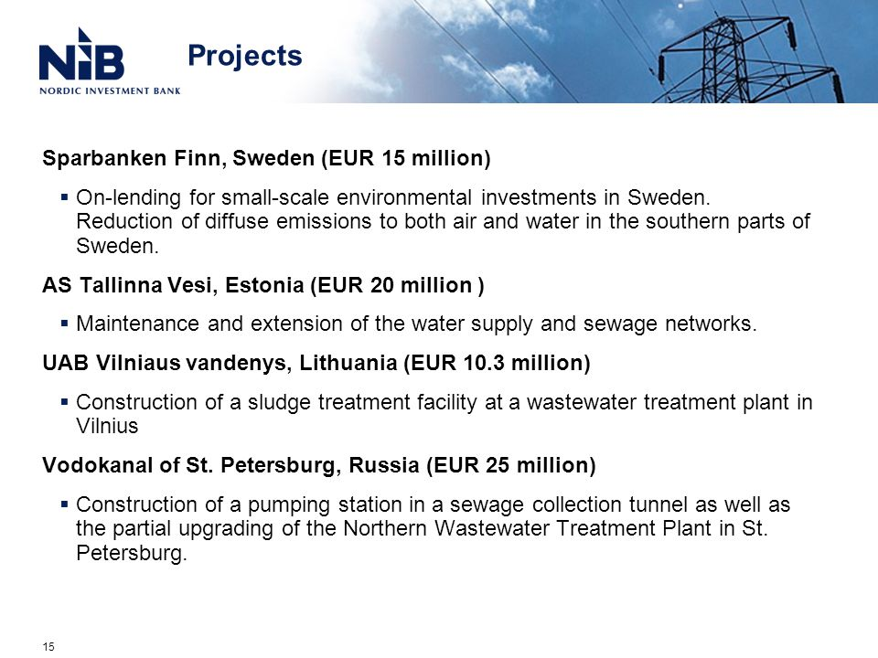 Projects Sparbanken Finn, Sweden (EUR 15 million)  On-lending for small-scale environmental investments in Sweden.