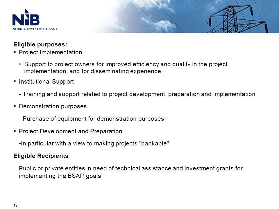 Eligible purposes:  Project Implementation Support to project owners for improved efficiency and quality in the project implementation, and for disseminating experience  Institutional Support - Training and support related to project development, preparation and implementation  Demonstration purposes - Purchase of equipment for demonstration purposes  Project Development and Preparation -In particular with a view to making projects bankable Eligible Recipients Public or private entities in need of technical assistance and investment grants for implementing the BSAP goals 19