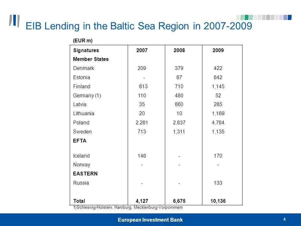 4 European Investment Bank EIB Lending in the Baltic Sea Region in 2007-2009 (EUR m) Signatures 2007 2008 2009 Member States Denmark 209 379 422 Eston