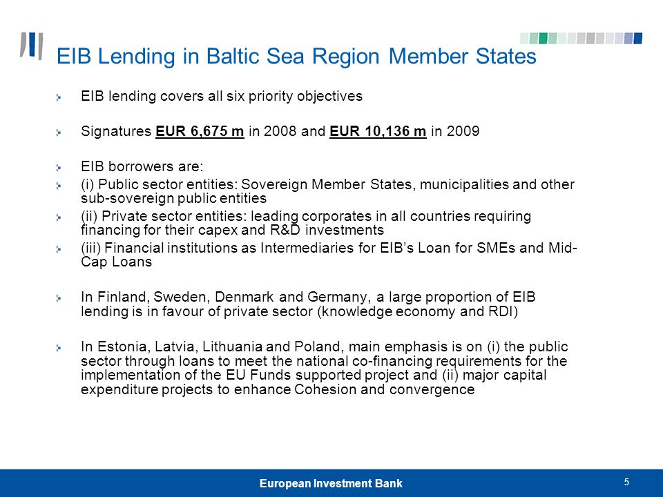 5 European Investment Bank EIB Lending in Baltic Sea Region Member States EIB lending covers all six priority objectives Signatures EUR 6,675 m in 200