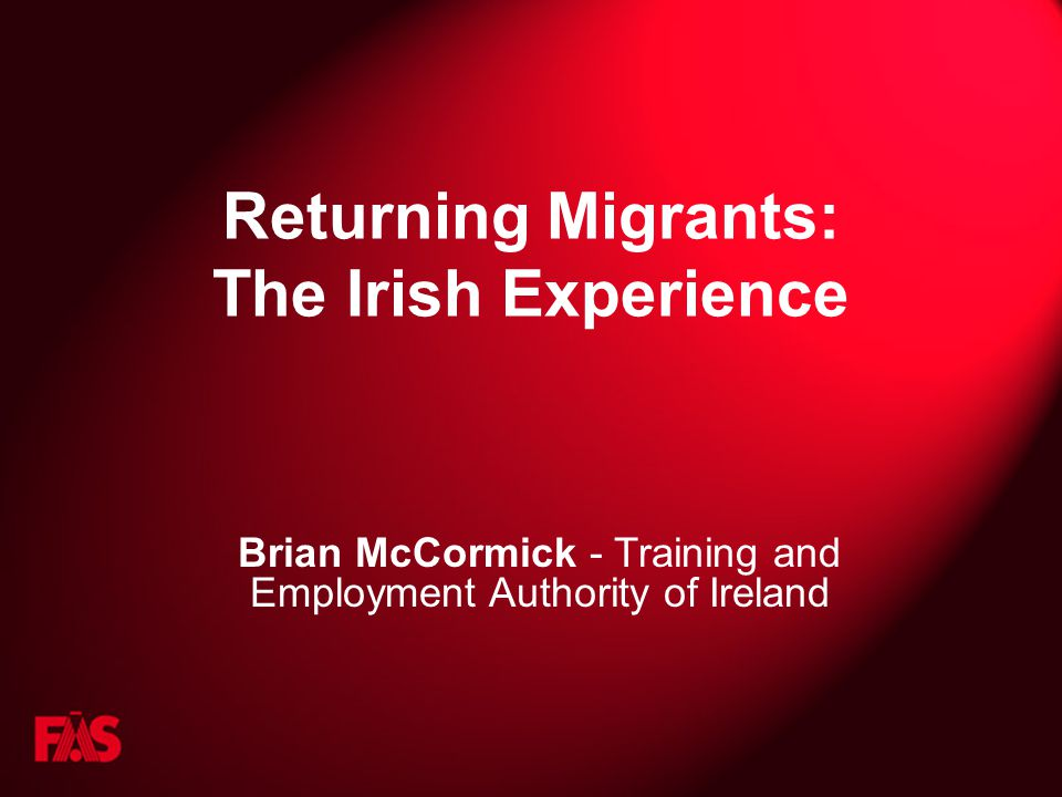 Returning Migrants: The Irish Experience Brian McCormick - Training and Employment Authority of Ireland