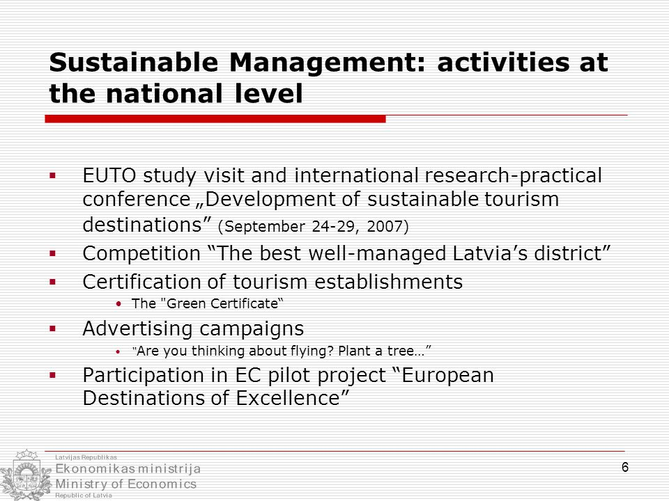 "6 Sustainable Management: activities at the national level  EUTO study visit and international research-practical conference ""Development of sustaina"