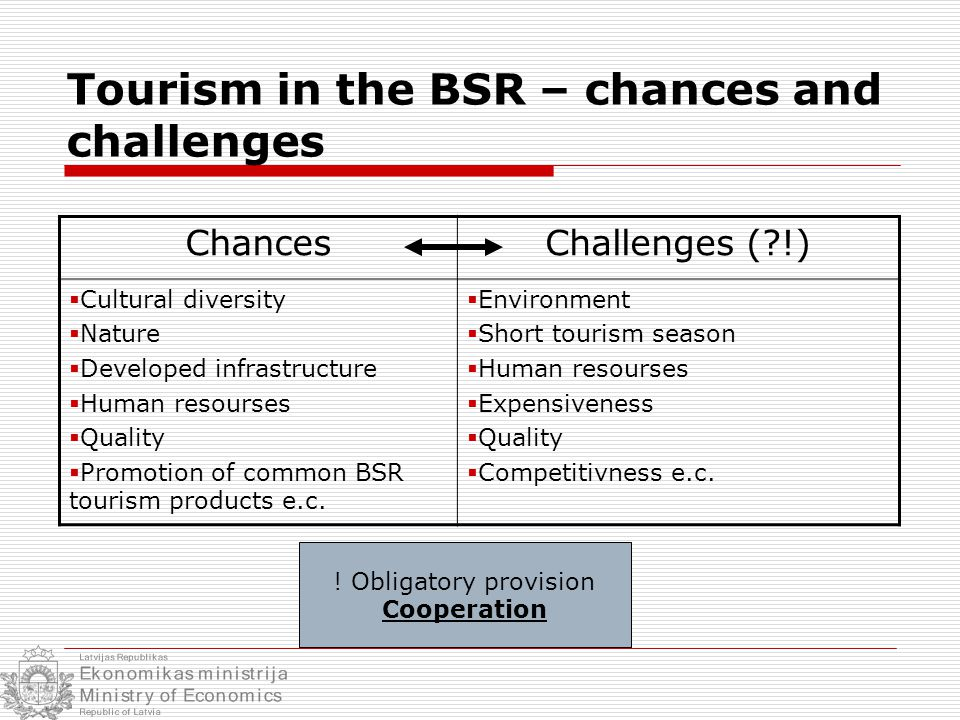 Tourism in the BSR – chances and challenges ChancesChallenges ( !)  Cultural diversity  Nature  Developed infrastructure  Human resourses  Quality  Promotion of common BSR tourism products e.c.