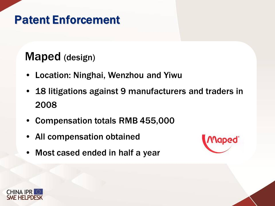 Maped (design) Location: Ninghai, Wenzhou and Yiwu 18 litigations against 9 manufacturers and traders in 2008 Compensation totals RMB 455,000 All comp