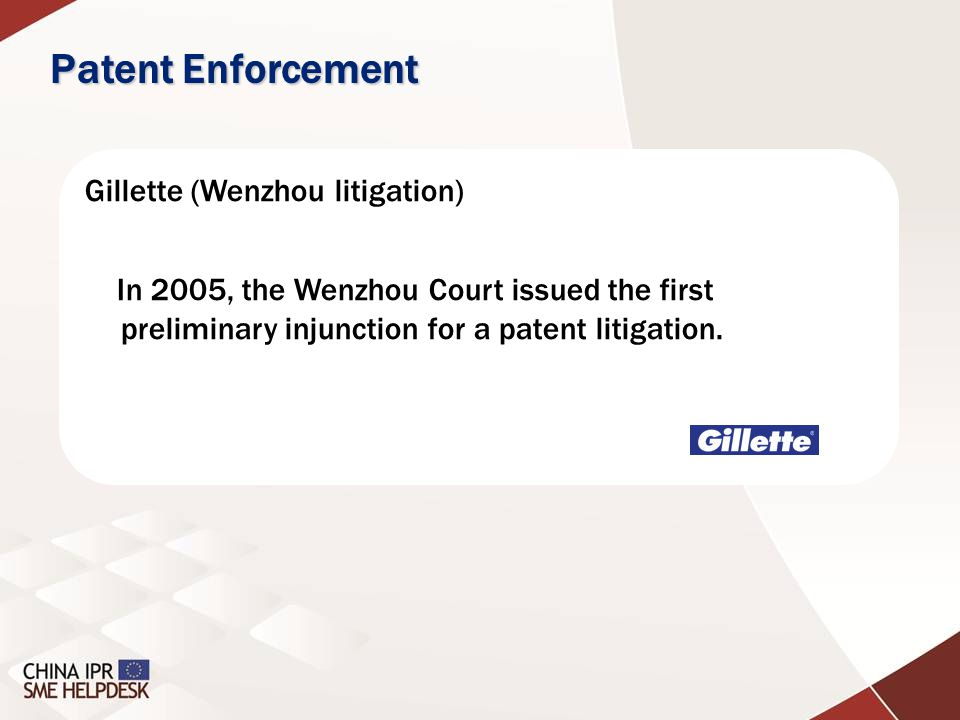 Gillette (Wenzhou litigation) In 2005, the Wenzhou Court issued the first preliminary injunction for a patent litigation. Patent Enforcement