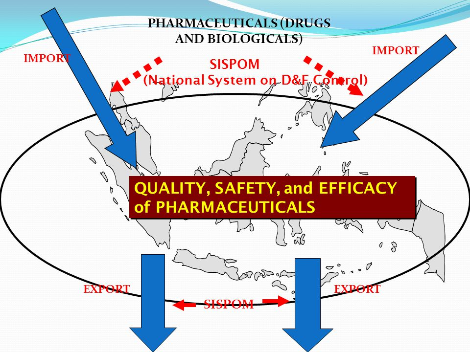QUALITY, SAFETY, and EFFICACY of PHARMACEUTICALS PHARMACEUTICALS (DRUGS AND BIOLOGICALS) SISPOM (National System on D&F Control) SISPOM IMPORT EXPORT