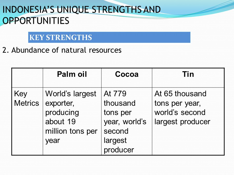 INDONESIA'S UNIQUE STRENGTHS AND OPPORTUNITIES 2. Abundance of natural resources KEY STRENGTHS Palm oilCocoaTin Key Metrics World's largest exporter,