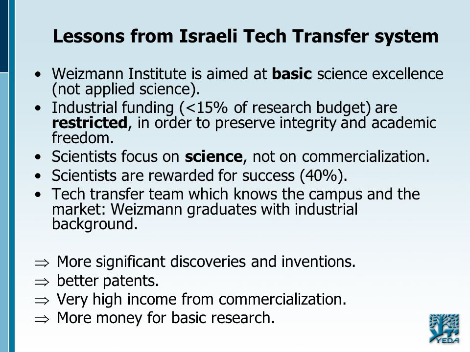 Lessons from Israeli Tech Transfer system Weizmann Institute is aimed at basic science excellence (not applied science). Industrial funding (<15% of r