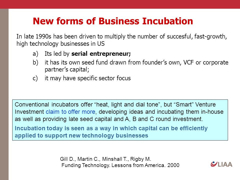 New forms of Business Incubation In late 1990s has been driven to multiply the number of succesful, fast-growth, high technology businesses in US a)It