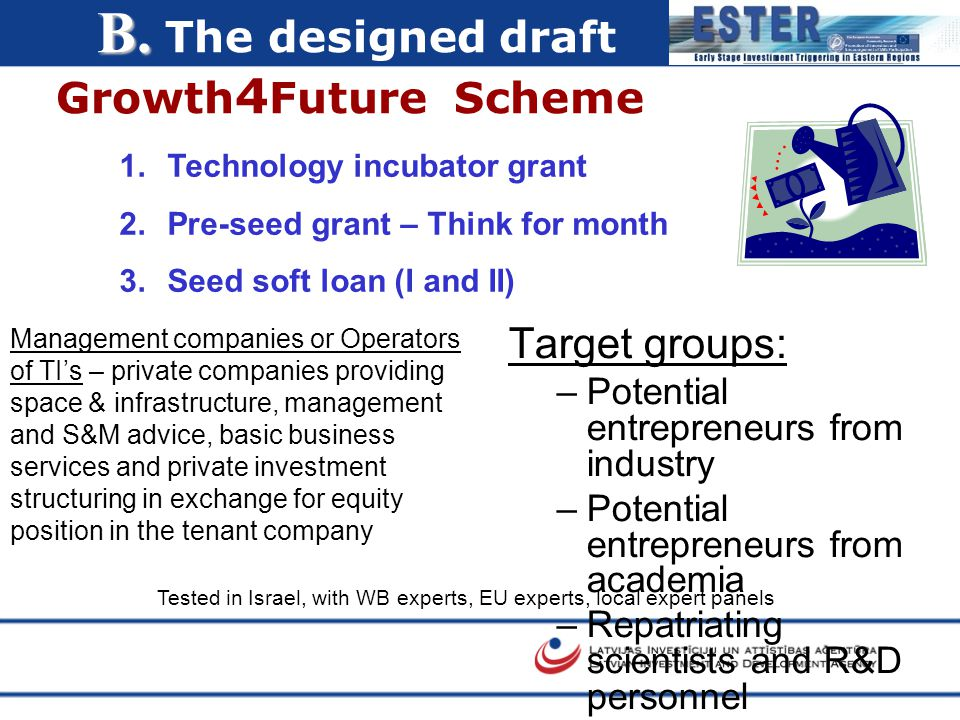 B. B. The designed draft Growth 4 Future Scheme Tested in Israel, with WB experts, EU experts, local expert panels 1.Technology incubator grant 2.Pre-