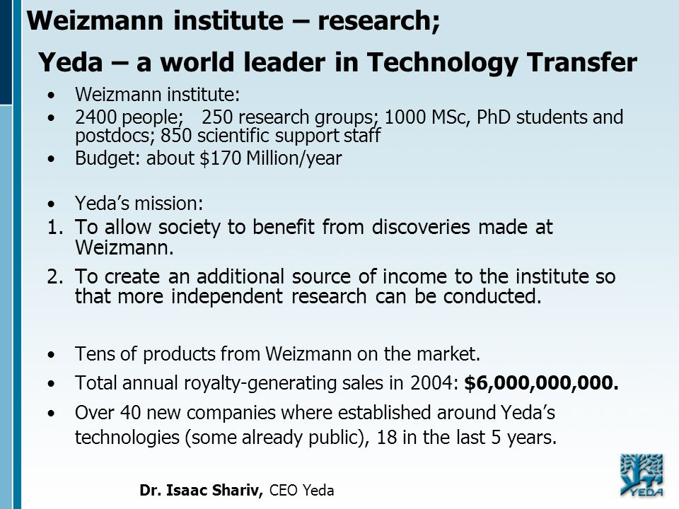 Weizmann institute – research; Yeda – a world leader in Technology Transfer Weizmann institute: 2400 people; 250 research groups; 1000 MSc, PhD studen